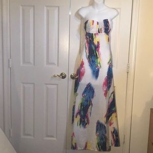 Long, strapless printed dress